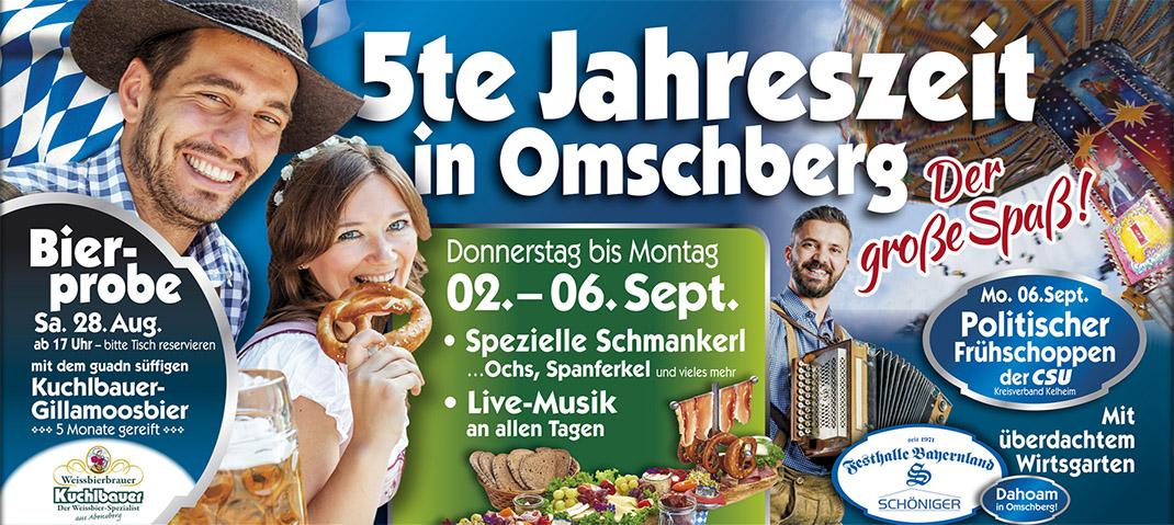 Die 5te Jahreszeit 2021 in Abensberg! Süffiges Gillamoosbier, Spezielle Schmankerl, Live-Musik und Bierprobe vom 02.09. bis 06.09.2021 in der Festhalle Bayernland Dahoam