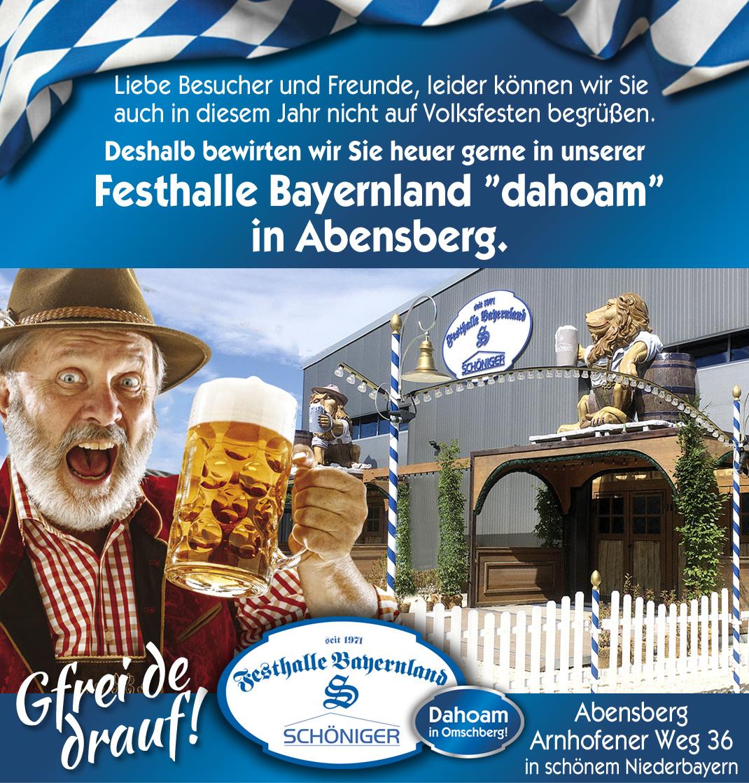 Bayernland Dahoam 2021 in Abensberg - Festhalle Bayernland -  Abensberg -  Im Ausschank Kuchlbauer Bier - Schöniger