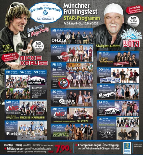 Star-Programm für das 56. Münchner Frühlingsfest 2021 in der Festhalle Bayernland auf der Theresienwiese