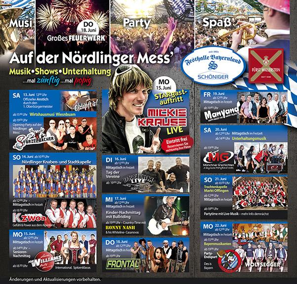 Veranstaltungsprogramm Nördlinger Mess´2022 in der Festhalle Bayernland