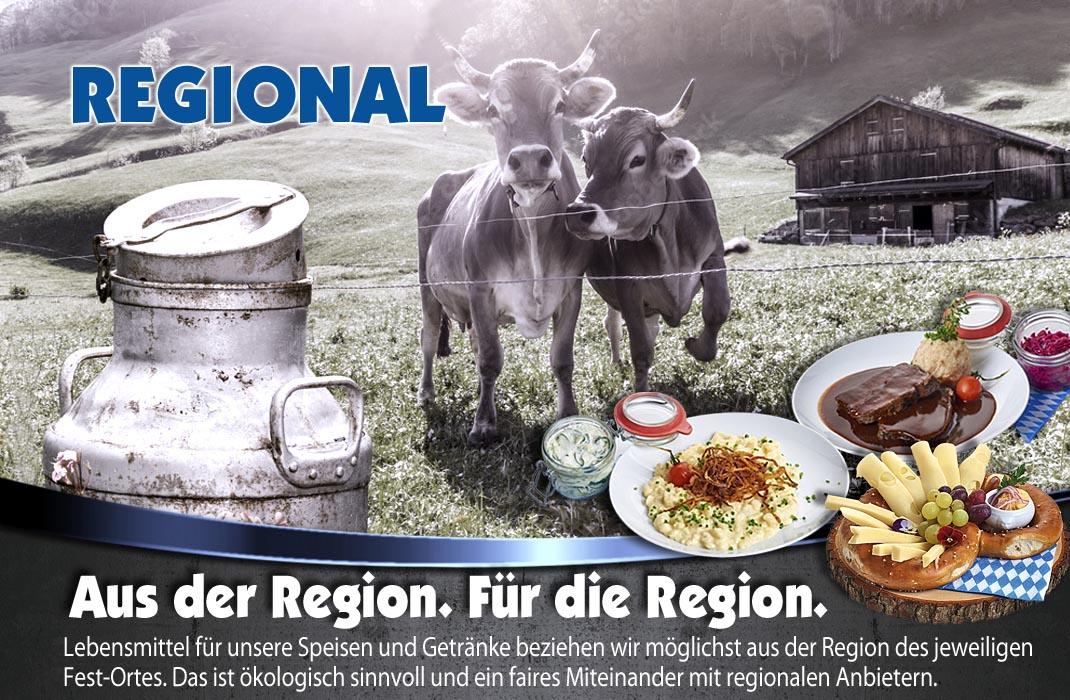 Regionale Anbieter für unsere Speisen und Getränke in der Festhalle Bayernland