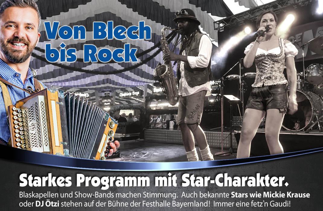 Beste Unterhaltung und tolle bayerische Blaskapellen sowie Stargast-Auftritte auf Volksfesten in Bayern mit der Festhalle Bayernland 2022
