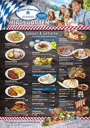 Speisen- und Getränkekarte für das Bayernland Dahoam in Abensberg 2021