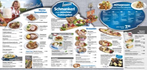 Speisenkarte für das Fruehlingsfest München 2020 in der Festhalle Bayernland