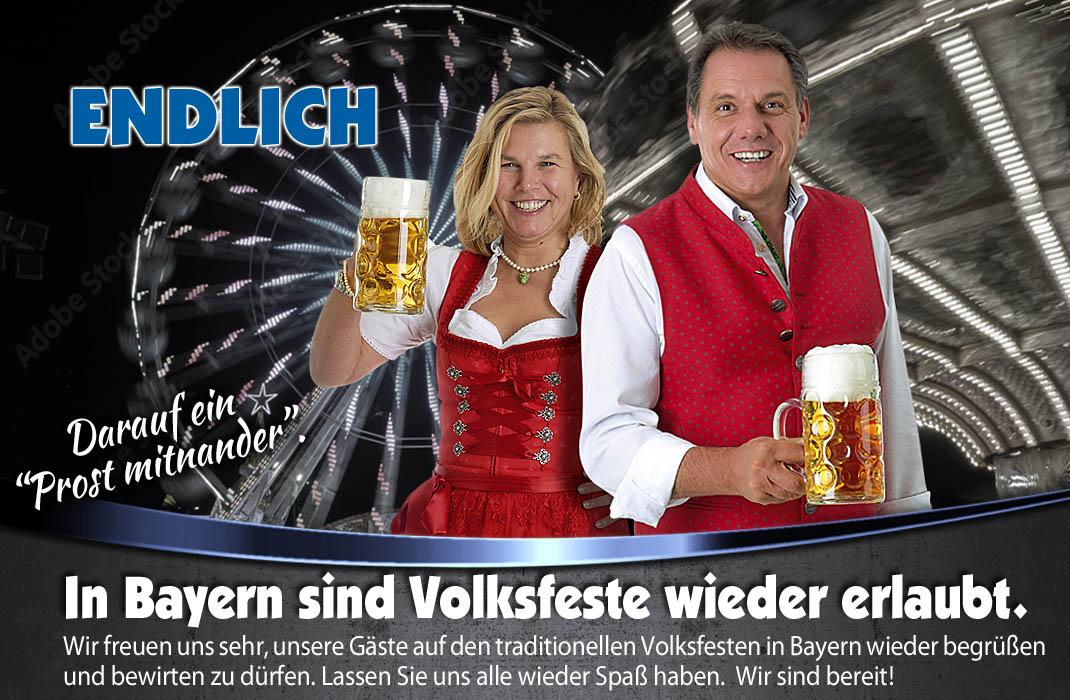 Die Volksfest Saison 2022 in Bayern mit der Festhalle Bayernland - Festwirtsfamilie Schöniger