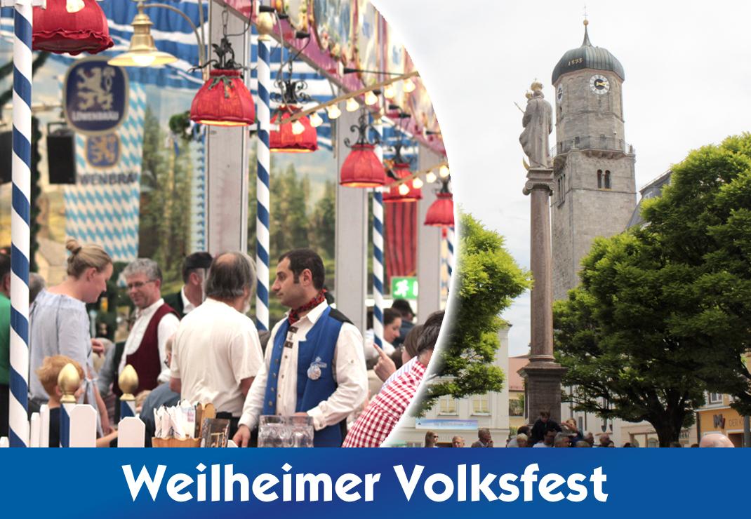 Volksfest Weilheim 2022 mit der Festhalle Bayernland - das Festzelt mit Bayrischem Flair