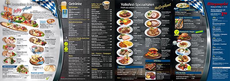 Speisen- und Getränkekarte für das Volksfest Waldkraiburg in der Festhalle Bayernland 2022