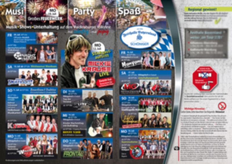 Veranstaltungsprogramm für das Volksfest Waldkraiburg 2022 mit der Festhalle Bayernland
